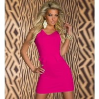 Fuchsia V Neck Slit Detailing Sexy Dress @ Dresses,Casual Dress,Casual Dresses,Lace Dress,Womens Dresses,Sweater Dress,Maxi Dresses,V Neck Dress,Long Sleeve Dresses,Cute Dresses,Ladies Dresses,Junior Dress,Teen Clothing,Party Dresses,Black,Red,White Dress,Cheap Womens Dresses on sale @ maykool.c