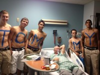 "Last year our school's janitor got unexpectedly sick. Our ""Topless Toppers"" (sporting event fan group) showed up to his hospital bed. I've never seen this man so happy. - Imgur"