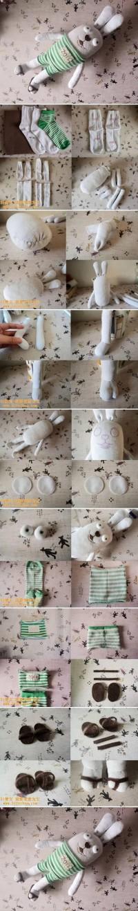 DIY Old Sock Cute Bunny Doll DIY Projects | UsefulDIY.com