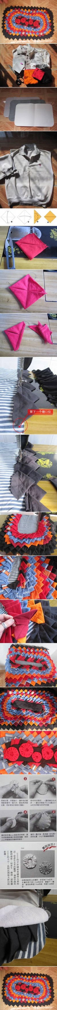 DIY Old Clothes Carpet Mat DIY Projects | UsefulDIY.com