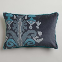 Blue Ikat Velvet Dori Lumbar Pillow | World Market