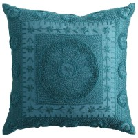 Crewel Embroidered Pillow - Teal