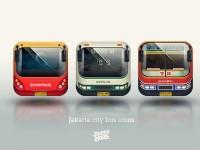 Jakarta city bus icons by jimmy balia