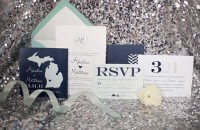 New Year Eve Wedding Ideas (stationery, invitation, place card, invitations, light blue, modern, navy blue, silver, sparkly, metallic) — Loverly Weddings