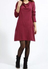 purplish red Pile collar loose cotton Fall dress by MaLieb