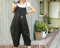 Vogue black linen Connect a body Seven cents trousers by MaLieb