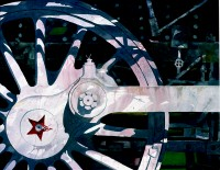 """Red Star"" Design in Steam Locomotive Train Wheel. Original Watercolor By Jerry Ellis"