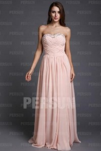 A-line Sweetheart Strapless Cross Ruching Chiffon Floor Length Prom dresses [PPCD2005]- CA$ 180.65 - Persunca.com