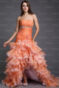 A-line Boatneck Strapless Beading Hand-make Flower Ruffle Organza High-low Prom Dresses [PPCD2004]- CA$ 219.35 - Persunca.com