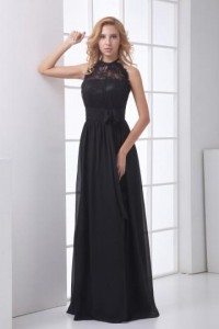 Delicate Halter Backless Ruched Lace Chiffon Evening Dress [ZHY172]- CA$ 129.37 - Persunca.com