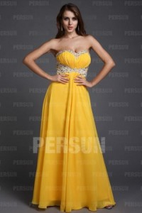 A-line Empire Sweetheart Beading Ruching Chiffon Floor Length Evening Dresses [PPCD2043]- CA$ 174.19 - Persunca.com