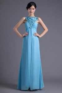 A-line Boatneck Empire Waist Embroidered Runching Chiffon Floor-length Evening Dress [ZHY026]- CA$ 132.99 - Persunca.com