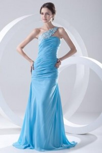 Sexy Backlesss One Shoulder Appliques Blue Chiffon Wraped Long Evening Dress [ZHY211]- CA$ 126.98 - Persunca.com