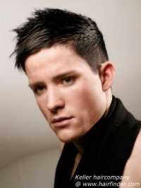 Hair cut for men with extremely short sides and back and hair that lengthens towards the top
