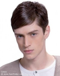 Short haircut for men with neatness and slick bangs