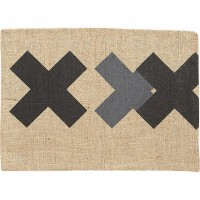 burlap black-grey placemat in table linens | CB2