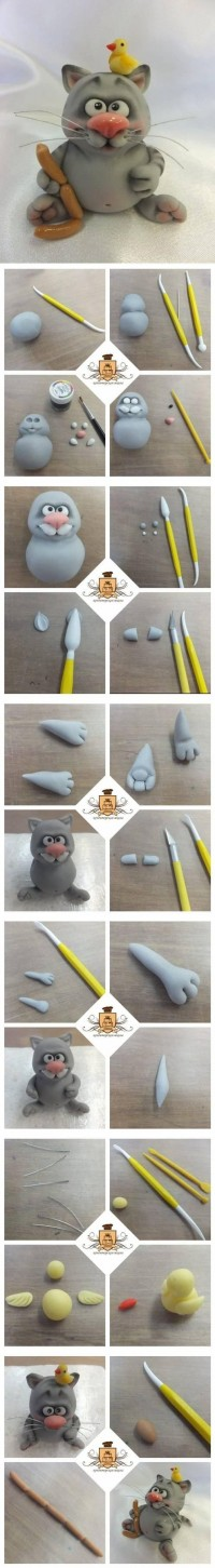 DIY Polymer Clay Cute Cat DIY Projects | UsefulDIY.com
