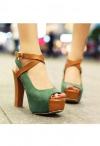 Peep-toe Green Cross Strap High-heeled Shoes | We Heart It