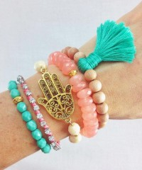 Boho Beachy Bracelet Stack in Mint and Coral by dAnnonEtsy on Etsy | We Heart It