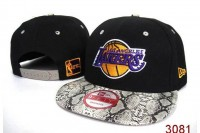 NBA Lakers Snapback Caps Yellow Logo And Grey Snake Print Bongrace Black/Purple