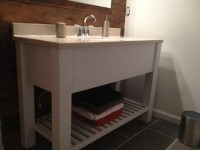 Open Shelf Bath Vanity Sink Cabinet Modern Slatted by DandWWoods