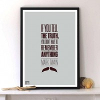Mark Twain quote truth life modern typographic print by LabNo4