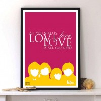 The Beatles All You Need Is Love music print typography by LabNo4