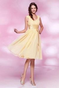 Cheap A-line V-neck Ruching Sash Yellow Chiffon Homecoming Dress - PERSUN