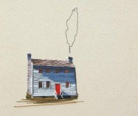Painterly embroideries of homes by Stephanie Clark - The Fox Is Black
