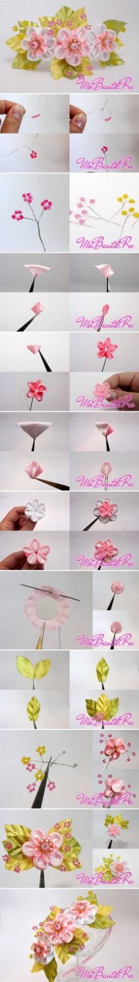 DIY Golden Sakura Ribbon Flower DIY Projects | UsefulDIY.com