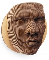 An 87-piece topographical cardboard face mask | Colossal