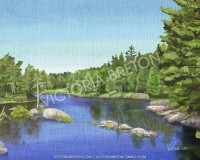 Riverside 8 x 10 Digital Painting cottage by vbdigitalpaintings