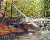 Crimson Bridge 8 x 10 Digital Painting by vbdigitalpaintings