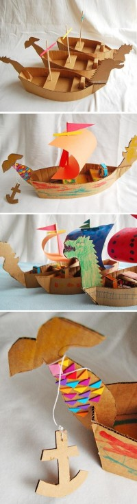 DIY Cardboard Ships - fun crafts idea for kids | .:: KiDZ DiY ::.