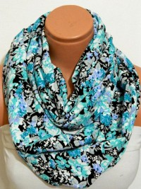 turquoise and black flowers Infinity by WomensScarvesTrend on Etsy