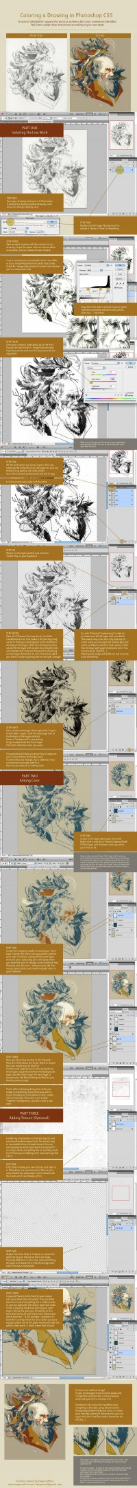 Coloring a Drawing in Photoshop CS5 by *teaganwhite