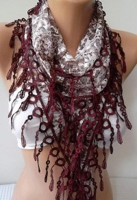 NEW Mothers Day Gift Burgundy Lace Shawl/ Scarf by womann