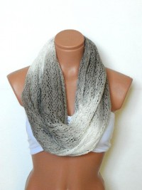tricot Infinity Scarves?vory and brown by WomensScarvesTrend