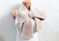 Knitted Bow Scarf Chunky Knitted Bow Ascot Neck by EmofoFashion