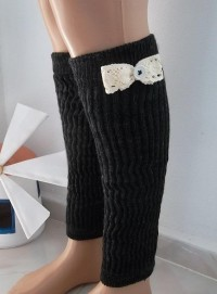 leg warmers boot socks machine knit lace trim by CarnavalBoutique