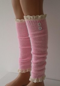 SOCKS Pink Leg Warmers Boot Socks Machine Knit by CarnavalBoutique