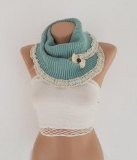 Neck Warmers Light Turquoise Infinity Scarf by CarnavalBoutique