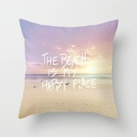 the beach is my happy place Throw Pillow by Sylvia Cook Photography | Society6