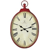 Antiqued Wall Clock - Red