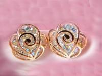 [grhmf2300014]Diamond Hollow Out Camellia Earrings