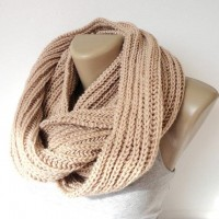 beige infinity scarf women men scarves winter by senoAccessory