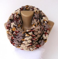 Infinity Scarf knitted women scarves fall colors by senoAccessory