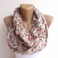 cotton scarf floral infinity scarf .loop scarf by senoAccessory