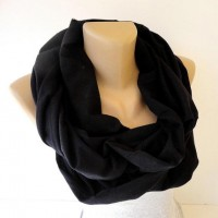 black cotton infinity scarf women / men scarves by senoAccessory