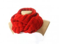 Infinity Scarf women knitted scarves Red Circle by senoAccessory